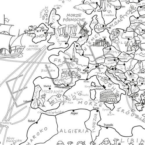 mapa  u015bwiata m u0142odego odkrywcy  kolorowanka xxl