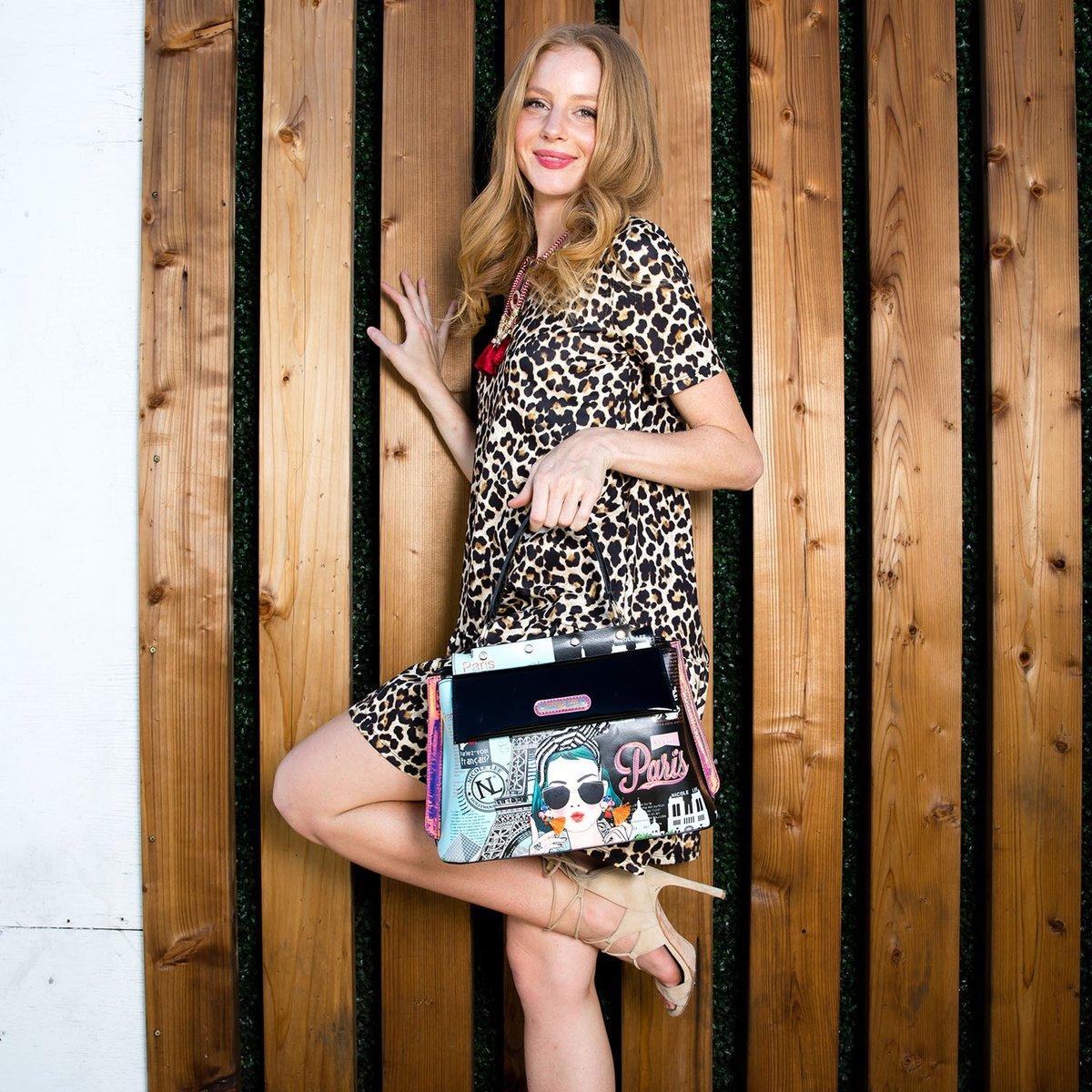 Nicole Lee, Torebka damska, Xoxo From Paris, czarno niebieska, 24x26x14 cm