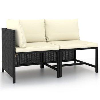 2-cz. zestaw wypoczynkowy do ogrodu, poduszki, czarny rattan PE-vidaXL