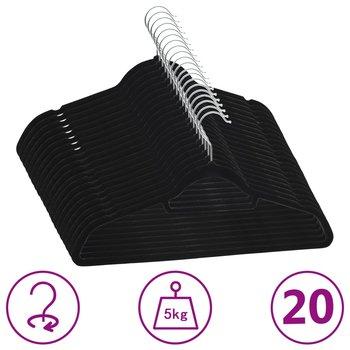 20 szt. wieszaków na ubrania, antypoślizgowe, czarne, aksamit-vidaXL