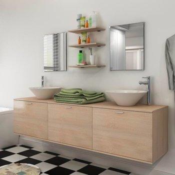 8 elementowy zestaw beżowych mebli łazienkowych z umywalkami-vidaXL