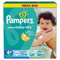 Active Baby-Dry, Mega Box, Pieluchy jednorazowe rozmiar 4+, Maxi+, 9-16 kg, Pampers, 120 szt.