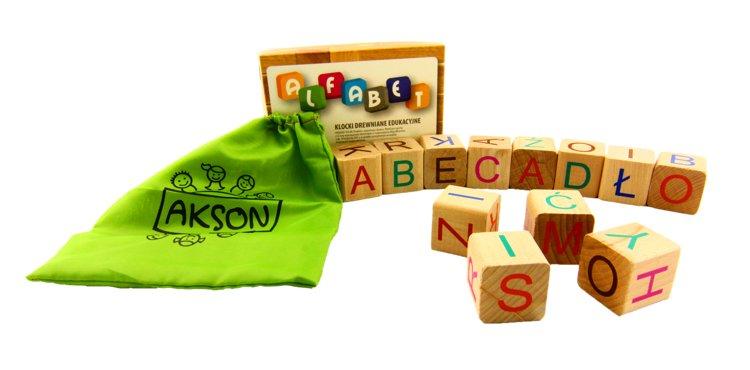 Akson, klocki drewniane edukacyjne Alfabet - Akson