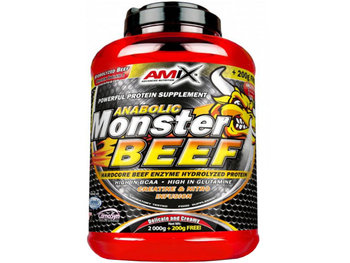 Amix, Anabolic Monster BEEF 90%, 2200 g, truskawkowo-bananowy-Amix