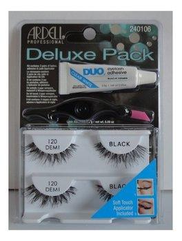 Ardell, Deluxe Pack, sztuczne rzęsy 120 Demi Black + klej DUO 2,5 g + aplikator-Ardell