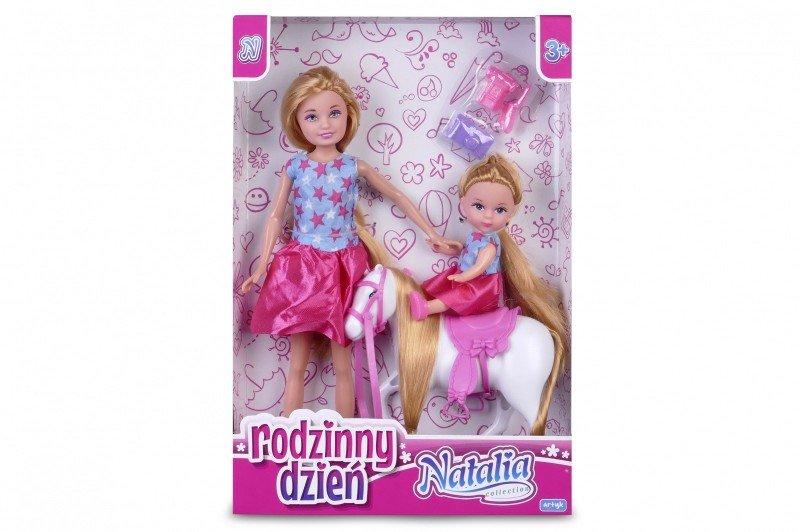 Artyk, lalka Natalia z córeczką i konikiem - Artyk