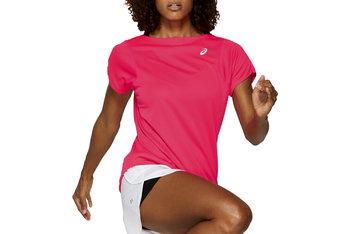 Asics Practice W SS Top 2042A086-700, Damskie, t-shirt, Różowy-Asics