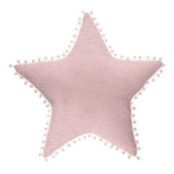 Atmosphera for kids, Poduszka dekoracyjna do pokoju dziecka, Gwiazdy z pomponami, Różowy, 50x50 cm-Atmosphera for kids