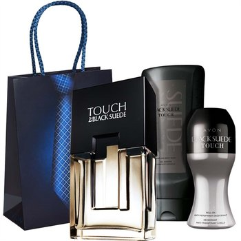 Avon, Black Suede Touch, zestaw kosmetyków, 3 szt. + torebka prezentowa-AVON
