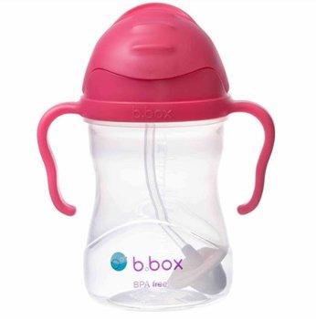 B.Box, Bidon ze słomką, Malinowy, 240 ml-B.Box