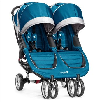 Baby Jogger, City Mini Double, Wózek bliźniaczy, Teal/Gray-Baby Jogger