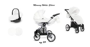 BabyActive, Mommy Glossy, Wózek wielofunkcyjny, White/Silver, 3w1-BabyActive