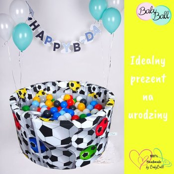 BabyBall, suchy basen okrągły 90x40 cm z kulkami 500 szt - Piłki 3D-BabyBall