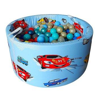 BabyBall, suchy basen z kulkami, autka na niebieskim tle, 150 sztuk-BabyBall