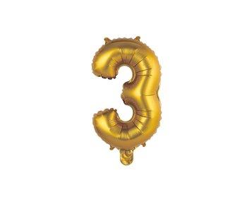 Balon foliowy, Cyfra 3, 35 cm, złoty, matowy-GoDan