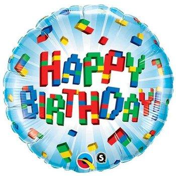 """Balon foliowy, Klocki Happy Birthday, 18""""-Qualatex"""