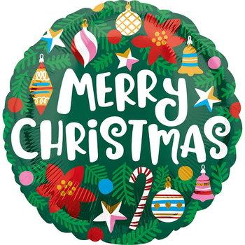 "Balon foliowy, Merry Christmas, 17"", zielony-Amscan"