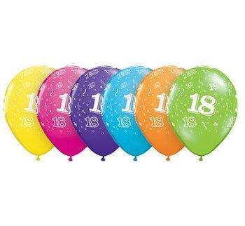 """Balony, 18 urodziny, 11"""", mix kolorów, 6 sztuk-Qualatex"""