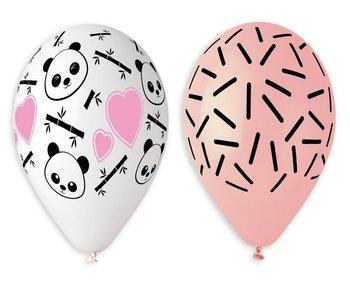 """Balony lateksowe Premium, panda i serca, 13"""", 5 sztuk-Gemar"""
