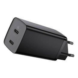 Baseus GaN2 Lite szybka ładowarka 2x USB Typ C 65 W Power Delivery 3.0 Quick Charge 4+ SCP FCP AFC czarny (CCGAN2L-E01)