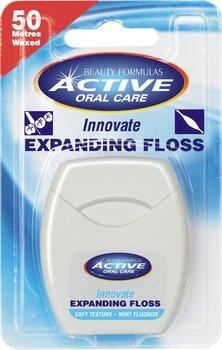 Beauty Formulas, Active Oral Care, nić dentystyczna pęczniejąca miętowa z fluorem, 50 m-Beauty Formulas