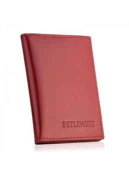 Betlewski, etui na karty, dokumenty, skórzane, czerwone-Betlewski