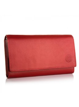 Betlewski, portfel damski z RFID, skórzany, czerwony-Betlewski