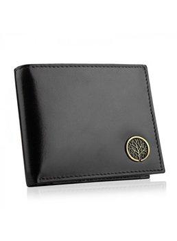 Betlewski, portfel męski slim z ochroną RFID, skórzany, czarny -Betlewski