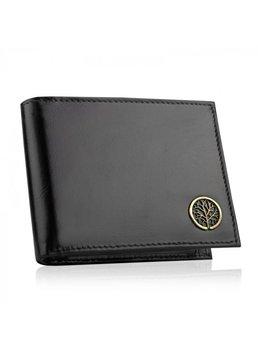 Betlewski, portfel męski z ochroną RFID, skórzany, czarny-Betlewski