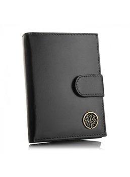 Betlewski, portfel męski z zapinką i RFID, skórzany, czarny-Betlewski