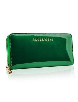 Betlewski, Portfel skórzany damski, zielony, 9,5x19,5 cm-Betlewski