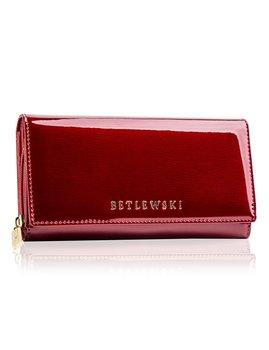 Betlewski, skórzany, duży portfel damski, lakierowany-Betlewski