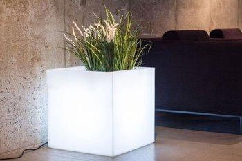 Biała donica Pixel Pot z oświetleniem-Monumo