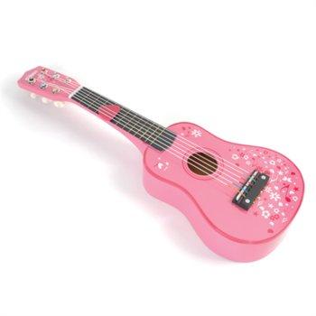 Bigjigs Toys, gitara drewniana, różowa-Bigjigs Toys