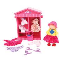 Bigjigs Toys, lalka Daisy z ubrankami