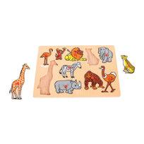 Bigjigs Toys, układanka z uchwytami Dzikie zwierzęta