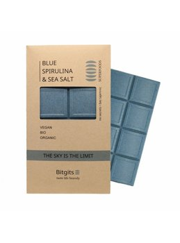 Bitgits, Sky is the limit, niebieska spirulina i sól morska, czekolada wegańska, Pozytywne Wibracje-Bitgits