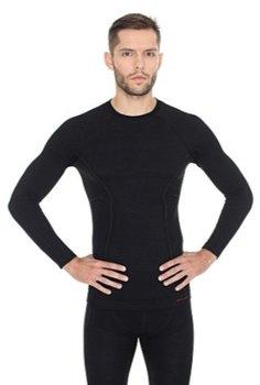 Brubeck, Koszulka męska, Active Wool, czarna, rozmiar L-BRUBECK