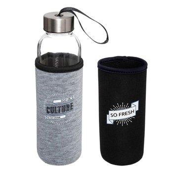 Butelka szklana na wodę, 500 ml, w neoprenowym etui-5five Simple Smart