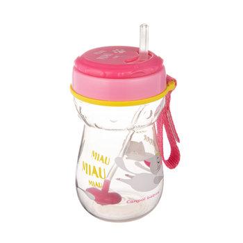 Canpol babies, Bidon z rurką silikonową i odważnikiem, Kotek, 350 ml-Canpol Babies