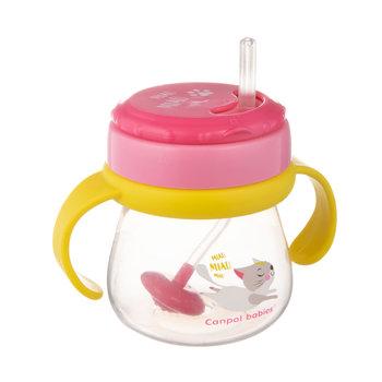 Canpol babies, Kubek z rurką silikonową i odważnikiem, Kotek, 250 ml-Canpol Babies