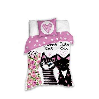 Carbotex, Pościel dziecięca, bawełniana, Koty, 160x200 cm -Carbotex