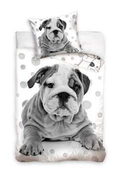 Carbotex, Pościel dziecięca, bawełniana, Szary Pies, 160x200 cm -Carbotex