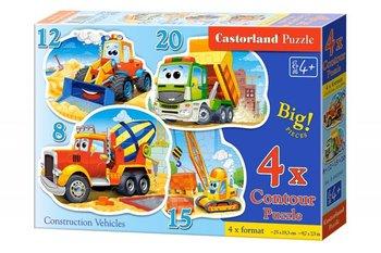 Castorland, Contur Puzzle, puzzle 4w1 Pojazdy Budowlane-Castorland