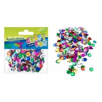 Cekiny metaliczne okrągłe 10 mm - mix kolorów-Craft With Fun