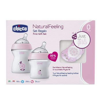 Chicco, Natural feeling, Zestaw do karmienia: Butelka, 150 ml, 0m+; Butelka, 250 ml, 2m+; Smoczek Physioforma Air, 0m+; Różowy - Chicco