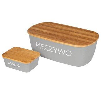 Chlebak pojemnik na chleb z deską bambusową PIECZYWO szary + maselnica-Orion