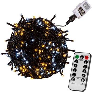 CIEPŁO ZIMNE LAMPKI CHOINKOWE 50 DIOD LED + PILOT-VOLTRONIC ®
