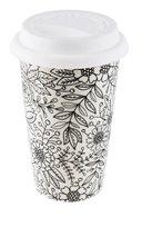 Color it!, Kubek termiczny, kwiaty, czarno-biały, 400 ml