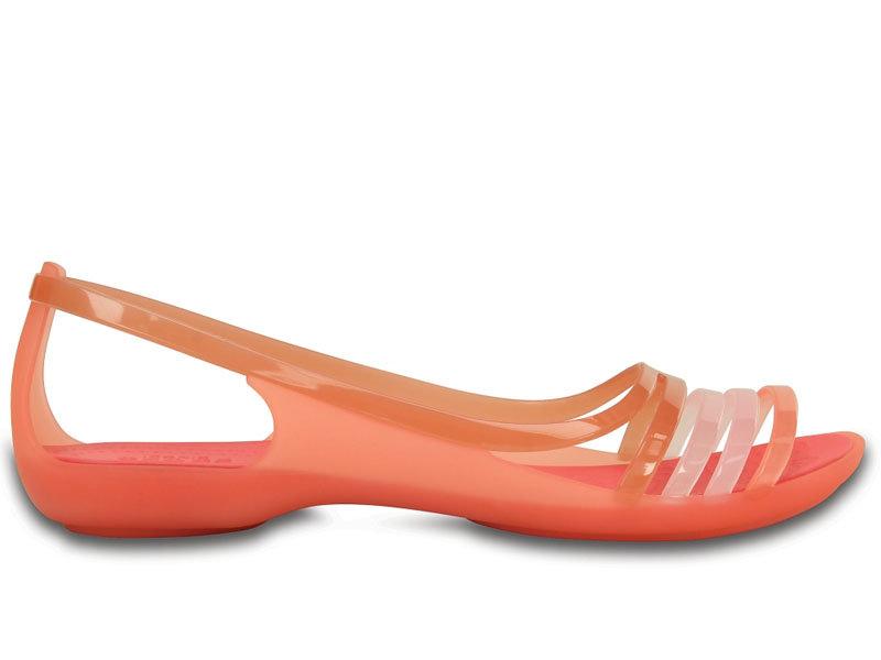 Crocs, Sandały damskie, Isabella Huarache Flat W Coral, pomarańczowy, rozmiar 34 12